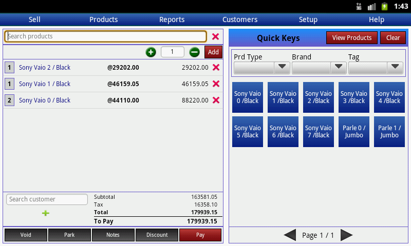 Bonrix RetailDesk current sale screen